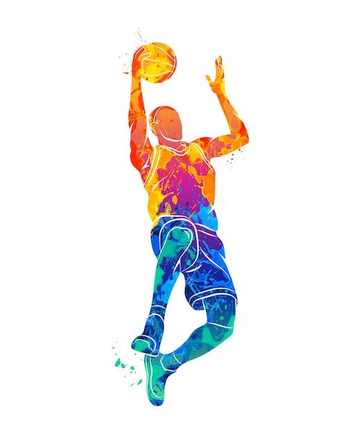 Streszczenie Koszykarz Z Piłką Z Plusk Akwareli. Ilustracja Farb. Premium Wektorów
