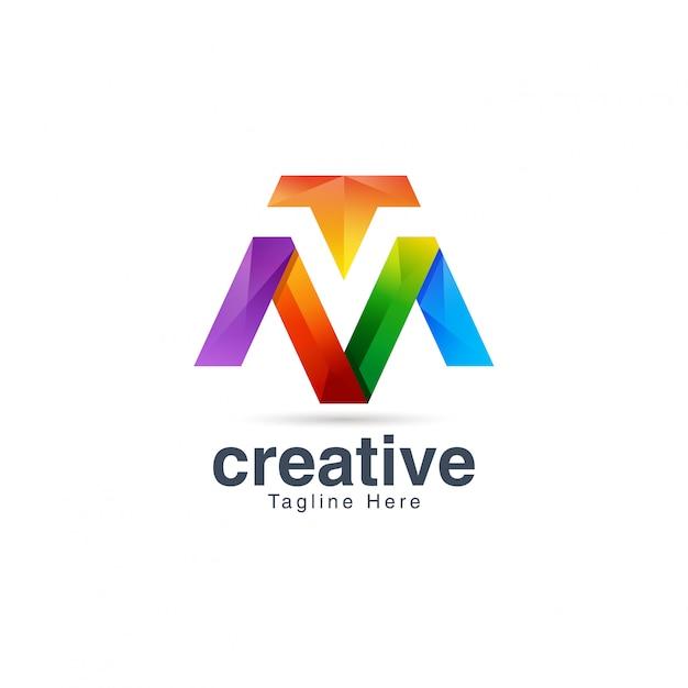 Streszczenie kreatywny tętniącego życiem litera m logo szablon projektu Premium Wektorów