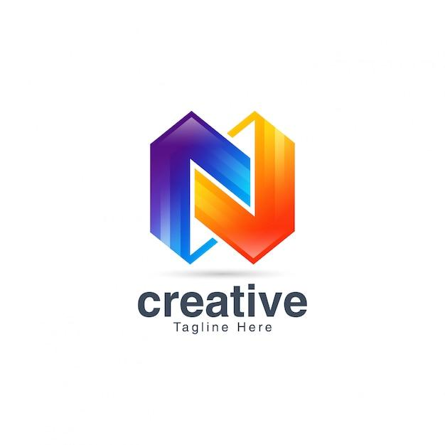 Streszczenie kreatywny tętniącego życiem litera n logo szablon projektu Premium Wektorów