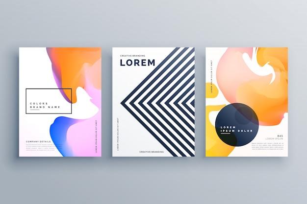Streszczenie Kreatywnych Broszura Projekt Szablonu Zestaw Z Linii I Płynnych Kolorów Darmowych Wektorów