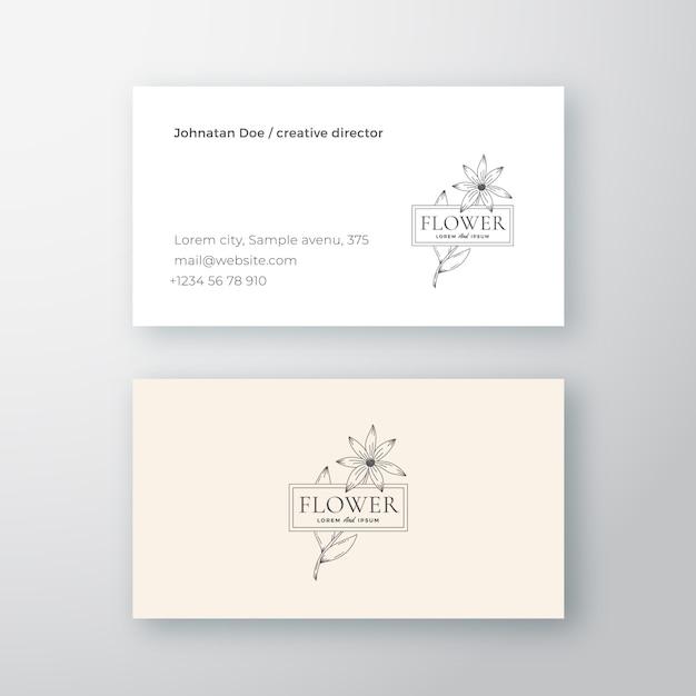 Streszczenie Kwiat Z Ramą Wektor Znak Lub Logo I Szablon Wizytówki. Premium Wektorów