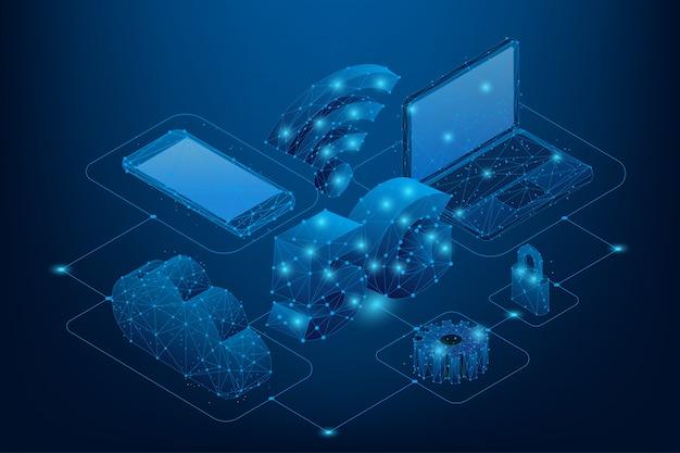 Streszczenie Linii I Punkt Znak Wifi 5g. Sieci Nowej Generacji Low Poly. Wieloboczny Szybki Mobilny Internet. Premium Wektorów