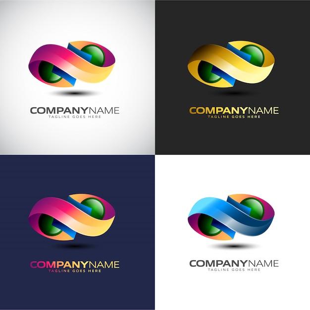 Streszczenie logo 3d infinity dla twojej marki firmy Premium Wektorów