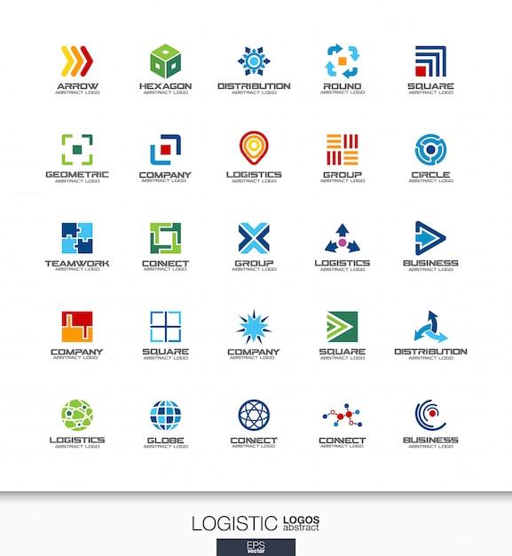 Streszczenie Logo Dla Firmy. Elementy Tożsamości Korporacyjnej. Koncepcje Eksportu, Transportu, Dostawy I Dystrybucji. Kolekcja Logotypów Logistycznych, Wysyłkowych. Kolorowe Ikony Premium Wektorów