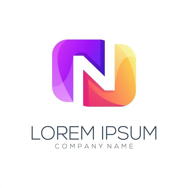 Streszczenie logo litery n. Premium Wektorów