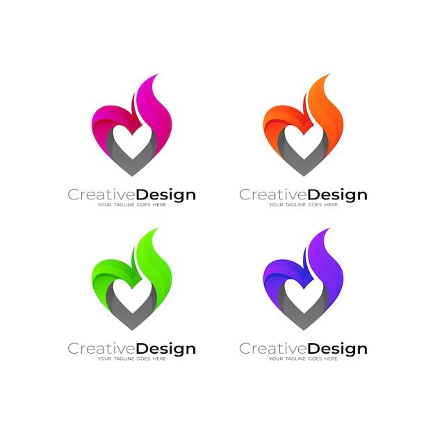 Streszczenie Logo Miłości Z Szablonem Projektu Ognia, Prosty Styl Premium Wektorów