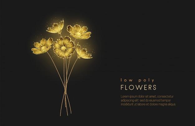 Streszczenie Low Poly Kwitnący Bukiet Kwiatów. Premium Wektorów