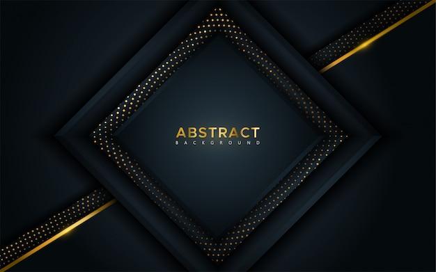Streszczenie luksusowe ciemne tło z złote linie i okrągłe świecące kombinacje złotych kropek. Premium Wektorów