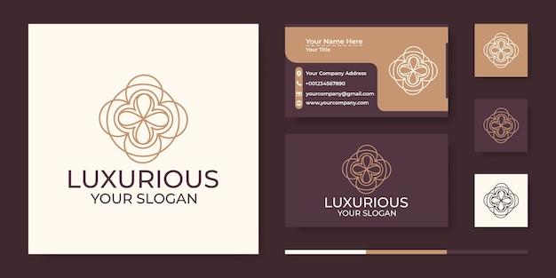 Streszczenie Luksusowe Logo W Stylu Grafiki Liniowej I Wizytówki Premium Wektorów