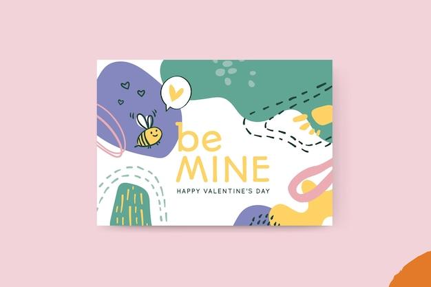 Streszczenie Malowana Karta Walentynkowa Dla Dzieci Darmowych Wektorów