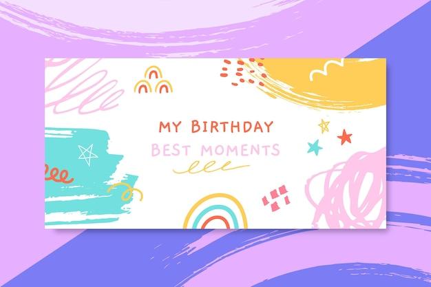 Streszczenie Malowany Nagłówek Bloga Na Urodziny Dziecka Darmowych Wektorów