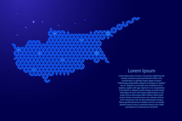 Streszczenie Mapa Cypru Schemat Z Niebieskich Trójkątów Powtarzający Się Wzór Geometryczny Tło Z Węzłów I Gwiazd Na Baner, Plakat, Kartkę Z życzeniami. Premium Wektorów