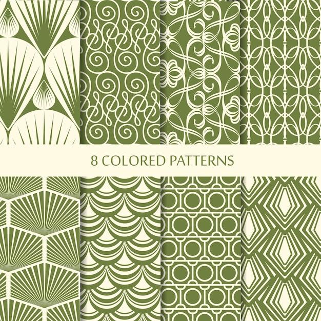 Streszczenie Minimalistyczne Vintage Bez Szwu Wzorów Zestaw Z Różnymi Zielonymi Kształtami Geometrycznymi O Powtarzalnej Strukturze Darmowych Wektorów