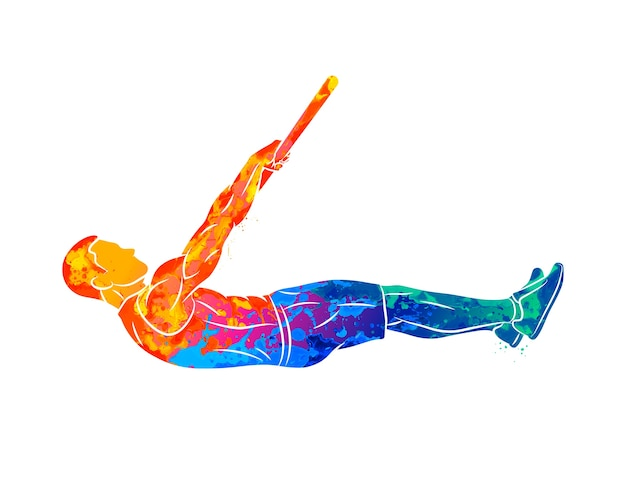 Streszczenie Młody Człowiek Robi ćwiczenia Brzucha Na Drążku Od Plusk Akwareli. Trening Funkcjonalny Z Własną Masą. Trening Street Workout. Trening Kalisteniki. Ilustracja Premium Wektorów