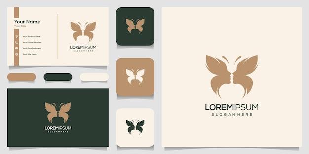 Streszczenie Motyl Twarz Kobiety Premium Logo, Szablon Wizytówki Premium Wektorów
