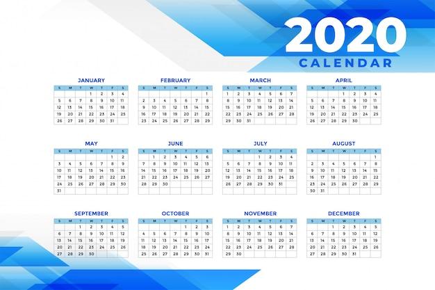 Streszczenie niebieski szablon kalendarza 2020 Darmowych Wektorów