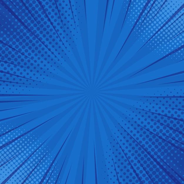 Streszczenie Niebieskie Paski Retro Komiks Tło Z Rogami Półtonów. Premium Wektorów