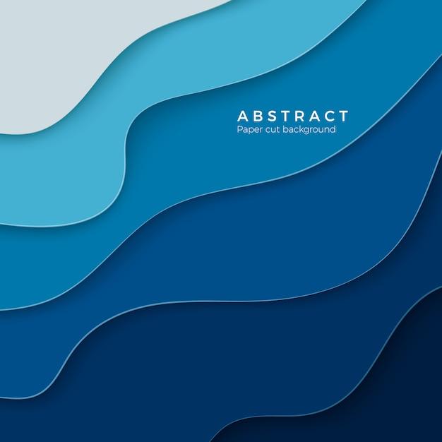 Streszczenie Niebieskim Tle Z Kształtów Cięcia Papieru. Układ Plakatów Biznesowych I Elementów. Kolorowa Sztuka Rzeźbienia. Tło Ramki Papieru. Ilustracja Premium Wektorów