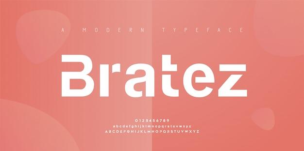 Streszczenie Nowoczesne Czcionki Miejskiego Alfabetu. Typografia Sport, Prosta, Technologia, Moda, Cyfrowa, Przyszłościowa Kreatywna Czcionka Z Logo. Ilustracja Premium Wektorów