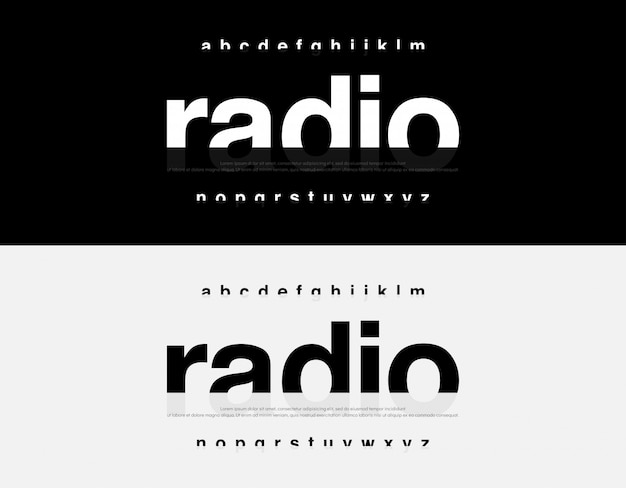 Streszczenie Nowoczesny Alfabet Czcionki. Typografia Miejska Premium Wektorów