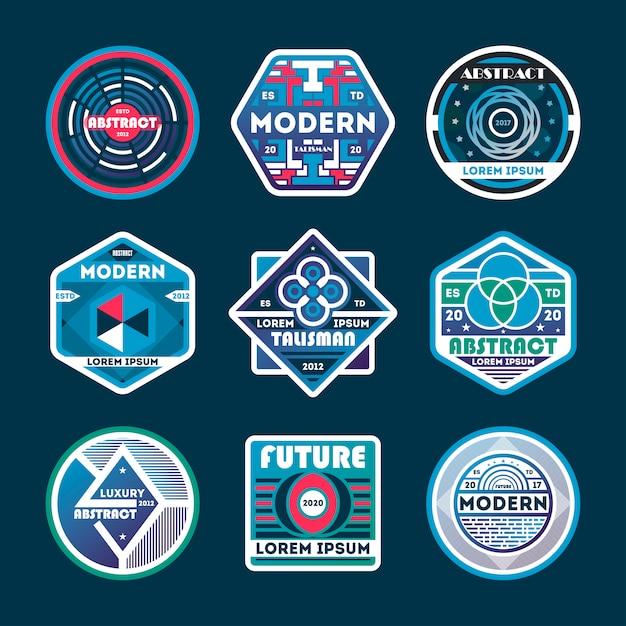 Streszczenie nowoczesny zestaw odznak na białym tle Premium Wektorów