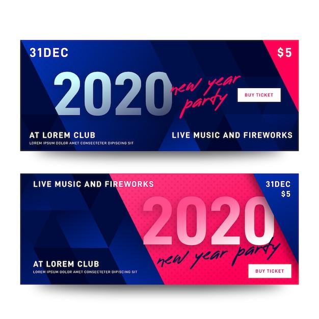 Streszczenie nowy rok 2020 banery partii Darmowych Wektorów