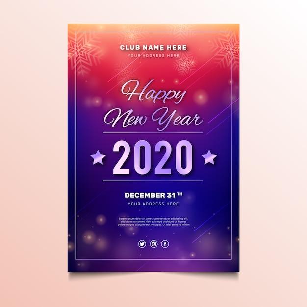 Streszczenie nowy rok 2020 szablon ulotki partii Darmowych Wektorów