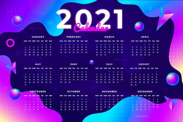 Streszczenie Nowy Rok 2021 Kalendarz Darmowych Wektorów