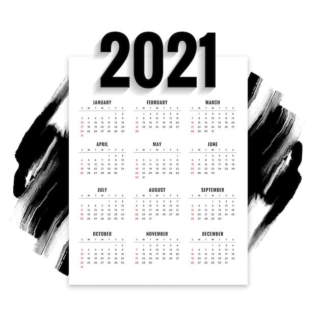 Streszczenie Nowy Rok Kalendarz Z Czarnym Pędzlem Akwarela Darmowych Wektorów