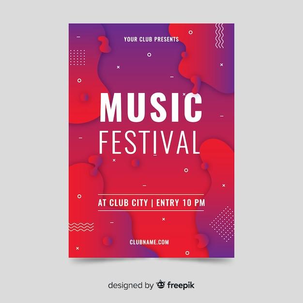 Streszczenie Plakat Efekt Płynny Festiwal Muzyki Szablon Darmowych Wektorów