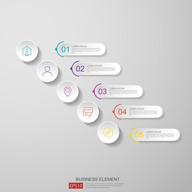 Streszczenie Pół Koła Dla Biznesu Infografikę Koncepcja Z Chmury I Budynku W Tle. Premium Wektorów
