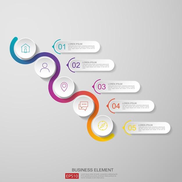 Streszczenie Pół Koła Dla Biznesu Infografikę Koncepcji Premium Wektorów