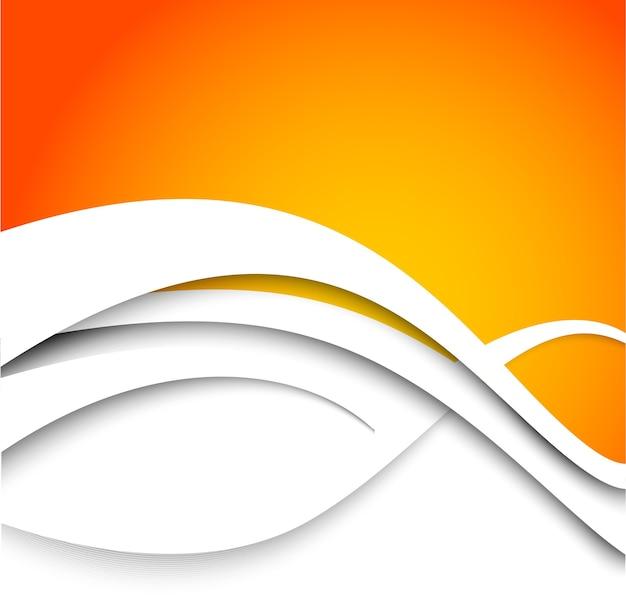 Streszczenie Pomarańczowym Tle Z Białymi Falami. Premium Wektorów