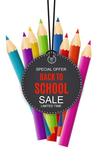 Streszczenie powrót do szkoły sprzedaż tło z spadających liści jesienią Premium Wektorów