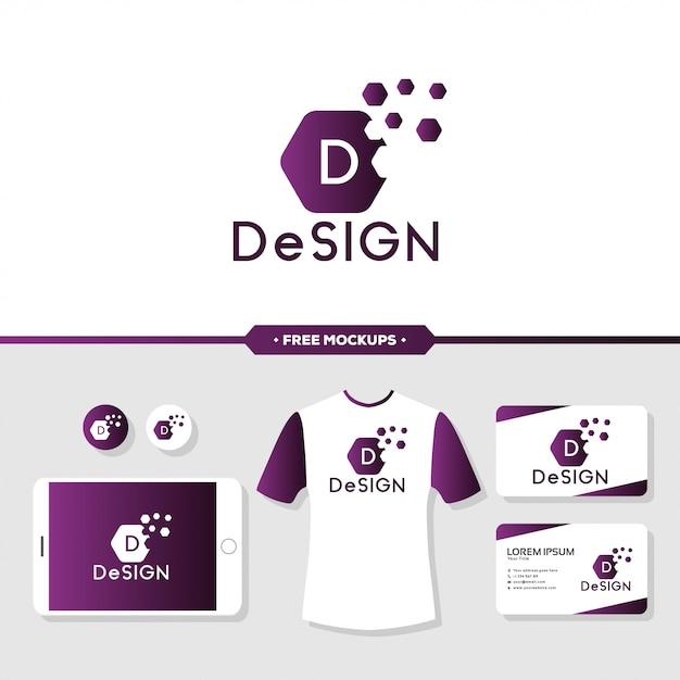 Streszczenie projektu logo marki z makieta papeterii Premium Wektorów