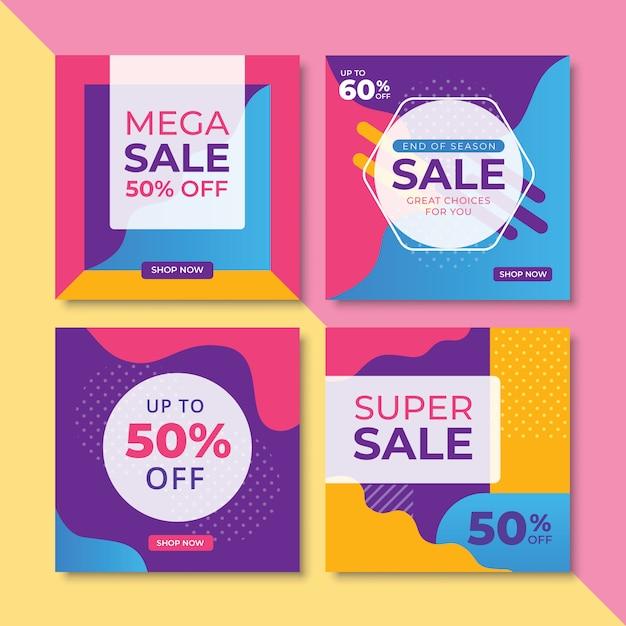 Streszczenie promocja sprzedaży banery kwadratowy rozmiar zestawu Premium Wektorów