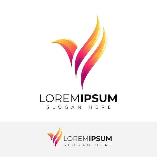 Streszczenie ptak logo projekt pełny kolor Premium Wektorów