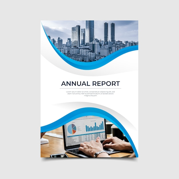 Streszczenie Raportu Rocznego Szablon Ze Zdjęciem Darmowych Wektorów