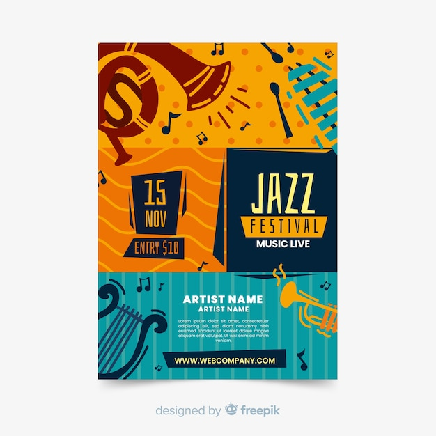 Streszczenie ręcznie rysowane szablon plakat muzyki jazzowej Darmowych Wektorów