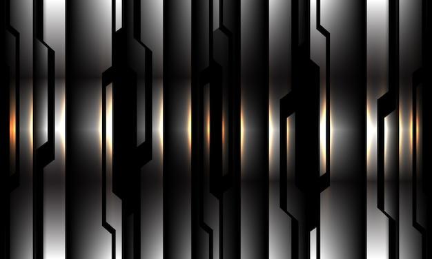 Streszczenie Srebrny Czarny Obwód Wzór żółte światło Nowoczesna Futurystyczna Technologia Tło Ilustracja. Premium Wektorów