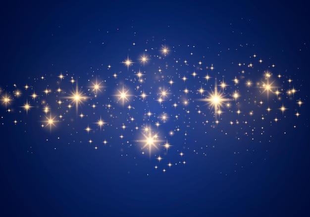 Streszczenie Stylowy Efekt świetlny Na Niebieskim Tle. żółty Pył, żółte Iskry I Złote Gwiazdy świecą Specjalnym światłem. Wektor Luksusowe Błyszczy Musujące Magiczne Cząsteczki Kurzu. Premium Wektorów