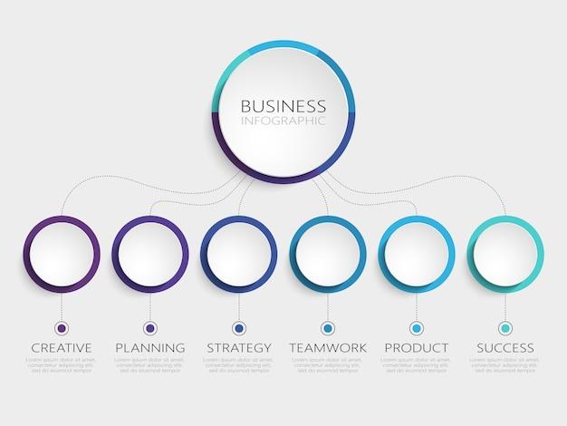 Streszczenie szablon infographic 3d z 6 kroków do sukcesu Premium Wektorów
