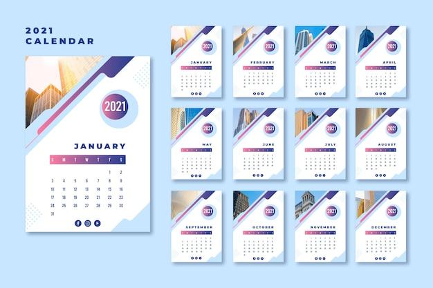 Streszczenie Szablon Kalendarza 2021 Premium Wektorów