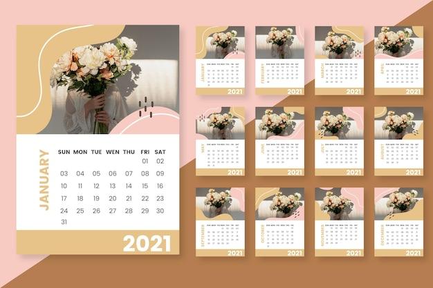 Streszczenie Szablon Kalendarza 2021 Darmowych Wektorów