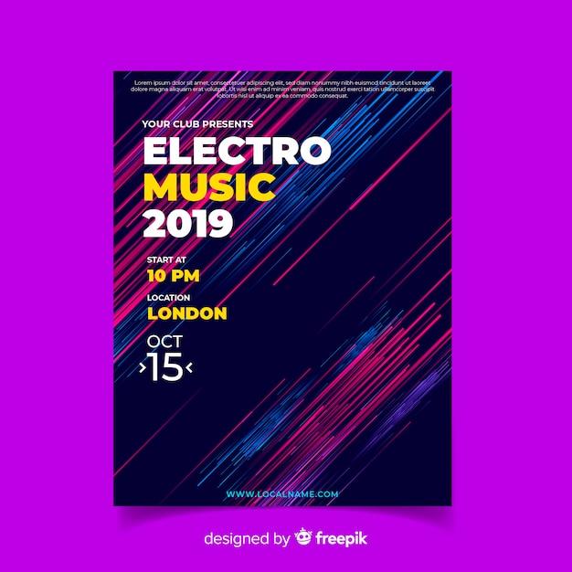 Streszczenie Szablon Plakat Muzyka Elektroniczna Darmowych Wektorów