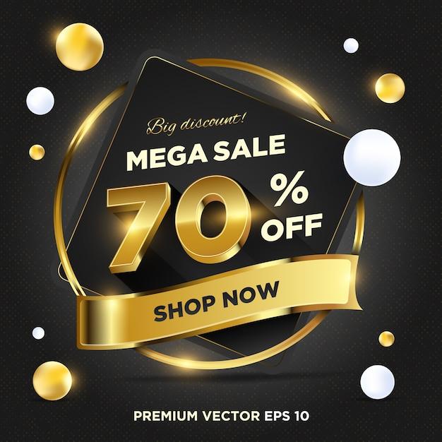 Streszczenie Szablon Transparent Promocji Sprzedaży Ciemnego Złota Premium Wektorów