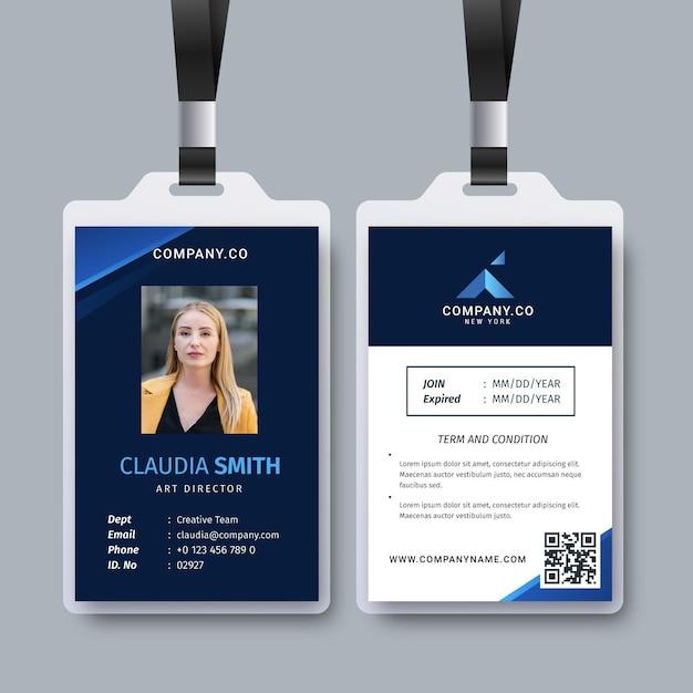 Streszczenie Szablon Ze Zdjęciem Do Kart Identyfikacyjnych Premium Wektorów