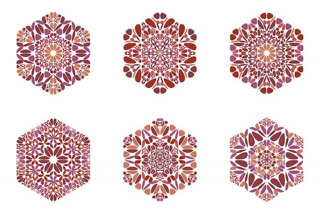 Streszczenie Sześciokąt Kolorowy Kwiat Na Białym Tle Logo Zestaw Premium Wektorów