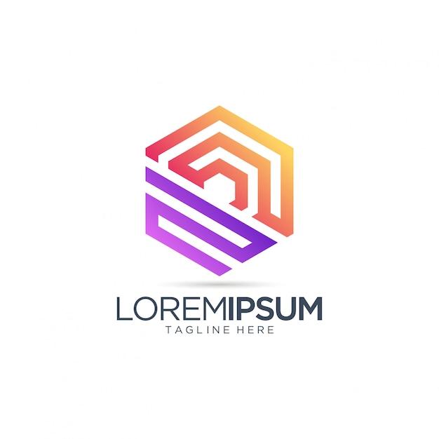 Streszczenie sześciokąt logo dla firmy z branży nieruchomości Premium Wektorów
