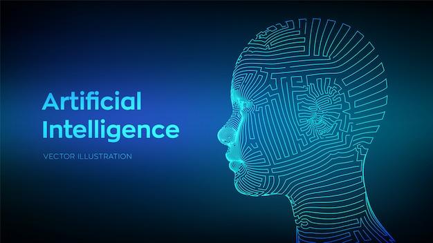 Streszczenie szkielet cyfrowej ludzkiej twarzy. ludzka głowa w interpretacji komputerowej robota. Premium Wektorów